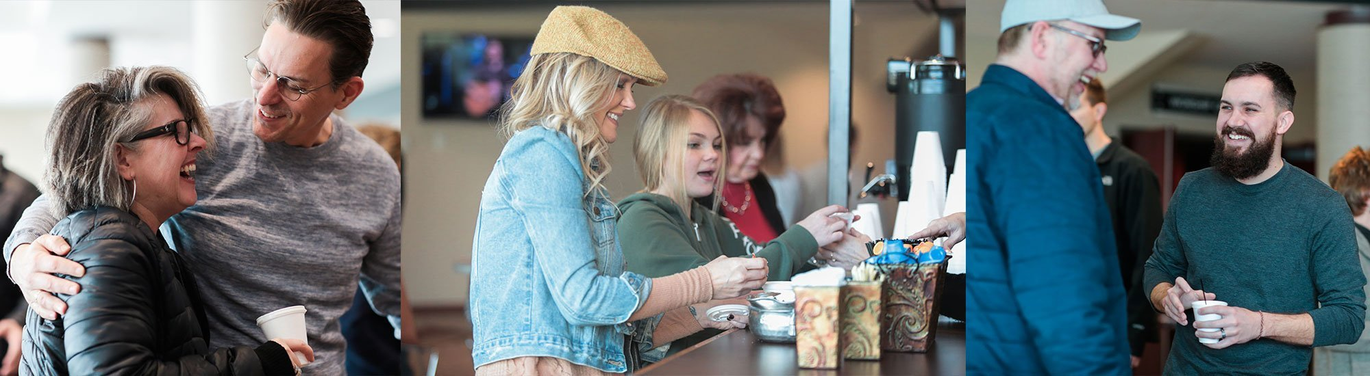 people drinking coffee at la croix